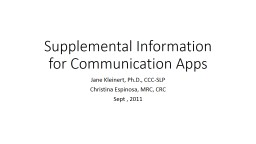 Supplemental Information for Communication Apps
