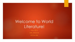 Welcome to World Literature!
