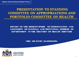 1 REVIEW OF THE EFFECTIVENESS OF COORDINATION AND ALIGNMENT OF NATIONAL AND PROVINCIAL SPHERES OF G