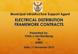 ELECTRICAL DISTRIBUTION FRAMEWORK CONTRACTS