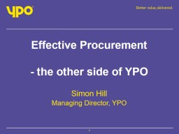 Effective Procurement - the other side of YPO