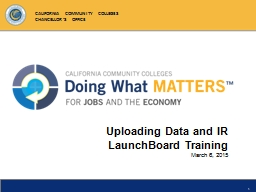 Uploading Data and IR LaunchBoard Training