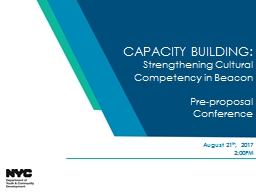 CAPACITY BUILDING:  Strengthening Cultural