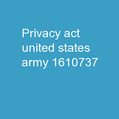 Privacy Act  United States Army