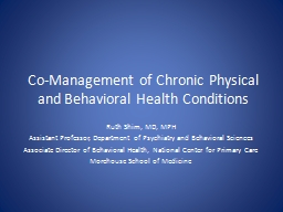 Co-Management of Chronic Physical and Behavioral Health Conditions