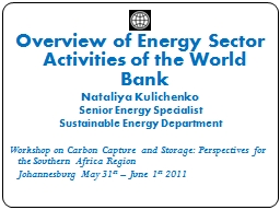 Overview of Energy Sector Activities of the World Bank