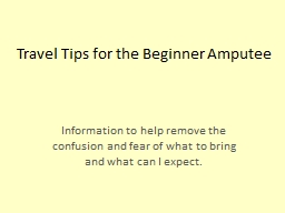 Travel Tips for the Beginner Amputee