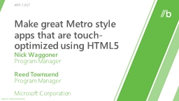Make great Metro style apps that are touch-optimized using HTML5