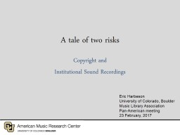 A tale of two risks Copyright and