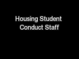 Housing Student Conduct Staff