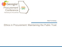 Ethics in Procurement: Maintaining the Public Trust