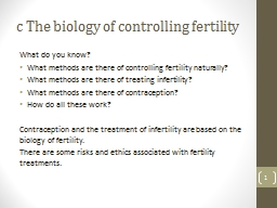 c  The biology of controlling fertility