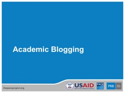 Academic Blogging What Is a Blog?