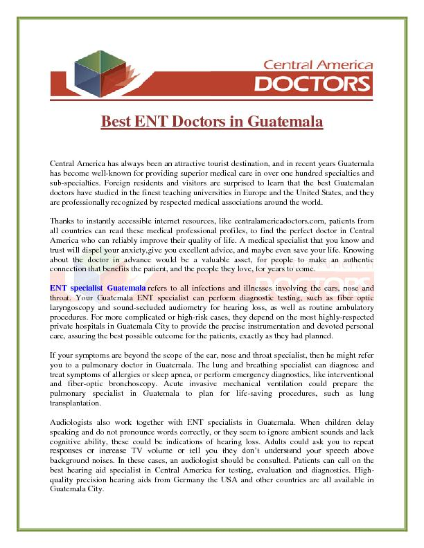 Best ENT Doctors in Guatemala Central