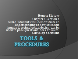 Tools & Procedures Honors Biology PowerPoint PPT Presentation