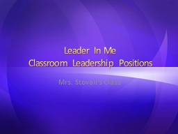 Leader In Me Classroom  Leadership Positions PowerPoint PPT Presentation
