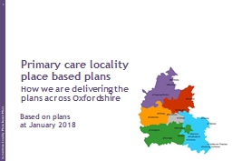 Primary care locality place based plans