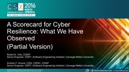A Scorecard for Cyber Resilience: What We Have