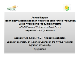 Annual Report  Technology Dissemination of Virus-free Seed Potato Production using Hydroponic P