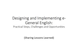 Designing and Implementing