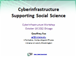 Cyberinfrastructure  Supporting Social Science