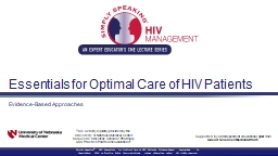 Essentials for Optimal Care of HIV Patients