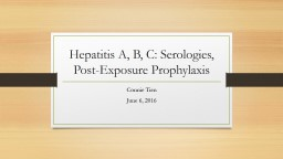 Hepatitis A, B, C:  Overview, Serologies, and Vaccination