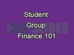 Student Group Finance 101