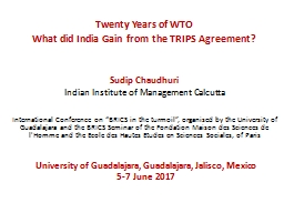 Twenty Years of WTO What did India Gain from the TRIPS Agreement?