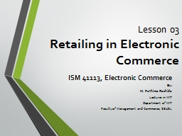 Lesson 03 Retailing in Electronic Commerce