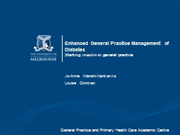 Enhanced General Practice Management of Diabetes