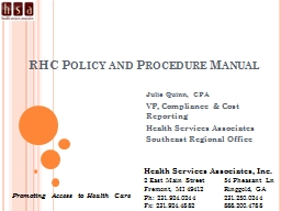 RHC Policy and Procedure Manual