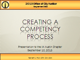 2013 Office of City Auditor
