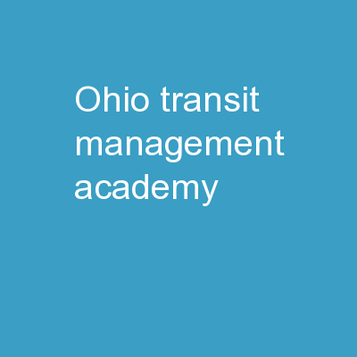 Ohio Transit  Management Academy