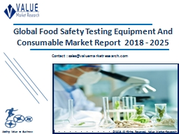 Food Safety Testing Equipment and Consumable Market Share, Global Industry Analysis Report 2018-2025