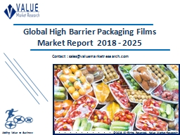 High Barrier Packaging Films Market Share, Global Industry Analysis Report 2018-2025 PowerPoint PPT Presentation