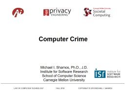LAW OF COMPUTER TECHNOLOGY                          FALL 2018                             COPYRIGHT