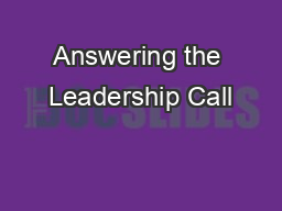 Answering the Leadership Call