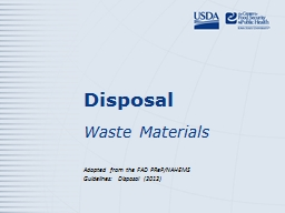 Disposal Waste Materials PowerPoint PPT Presentation