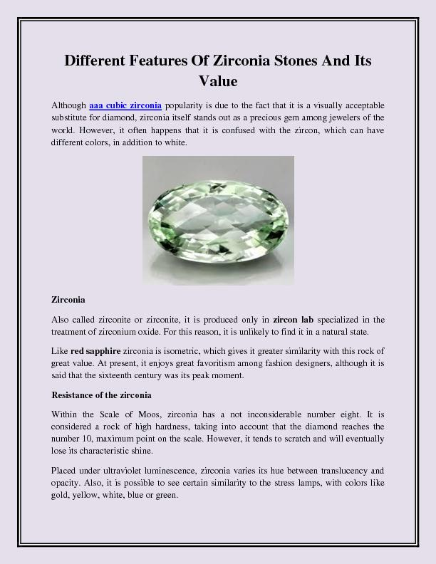 Different Features Of Zirconia Stones And Its Value