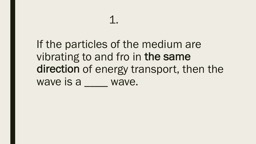 If  the particles of the medium are vibrating to and fro in