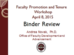 Faculty Promotion  and Tenure