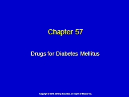 Chapter  57 Drugs for Diabetes Mellitus