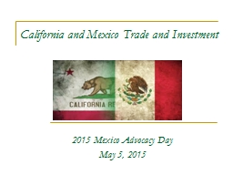 California and Mexico Trade and Investment