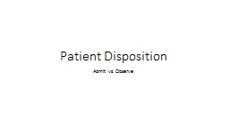 Patient Disposition Admit vs. Observe