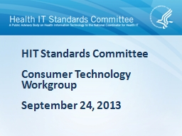 Consumer Technology Workgroup