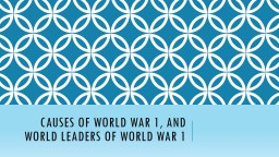 Causes of  W orld  W ar 1, and World leaders of World War 1