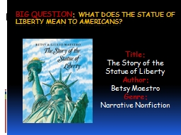 Big Question :  What does the statue of liberty mean to