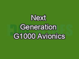 Next Generation G1000 Avionics