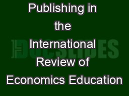 Publishing in the International Review of Economics Education